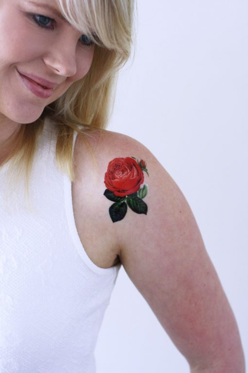 Small red rose temporary tattoo