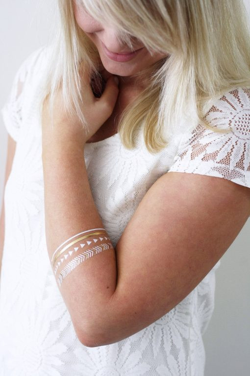 Gold boho temporary tattoo