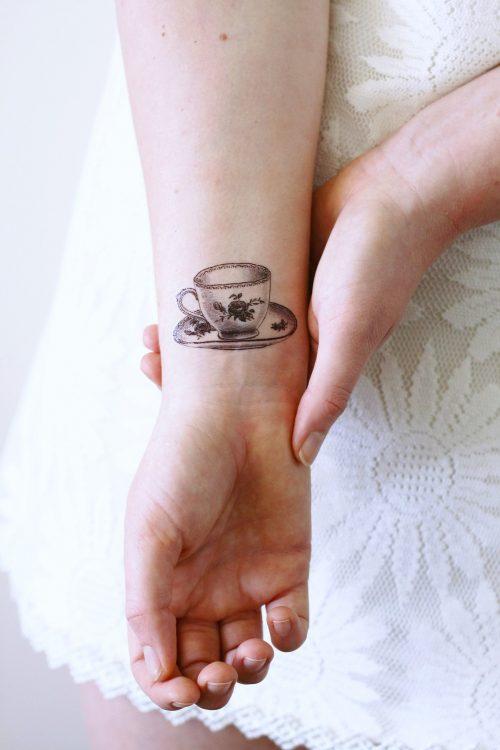 Small teacup temporary tattoo
