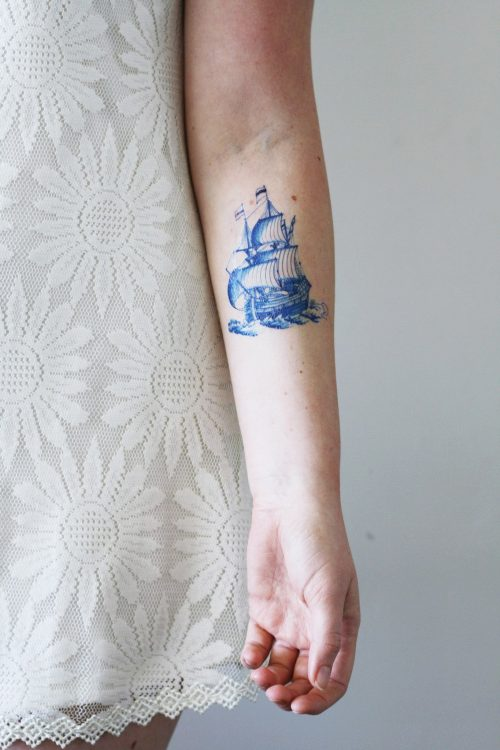 Delft Blue ship tattoo