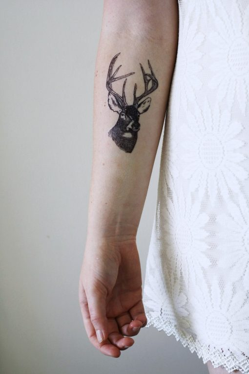 Deer head temporary tattoo