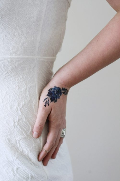 Small Delft Blue floral tattoo