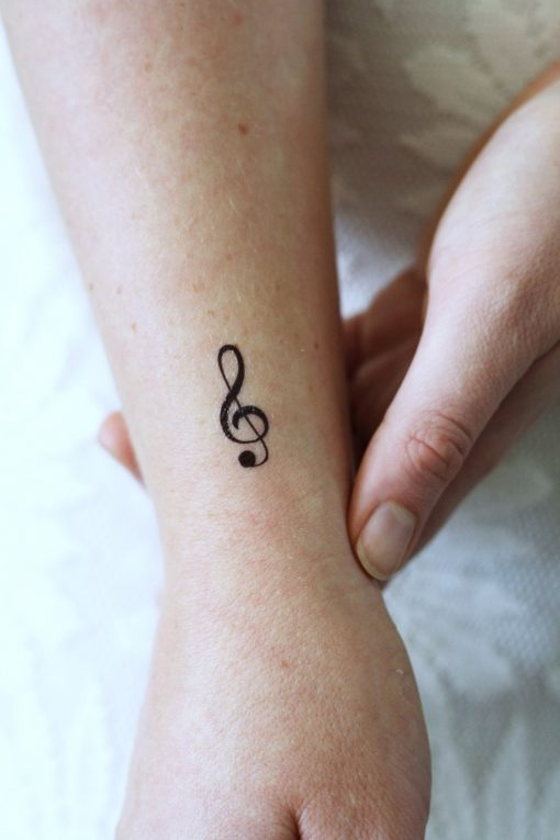 Small G Clef music temporary tattoo (4 pieces)