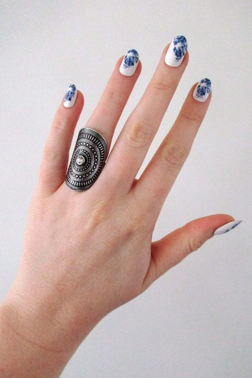 Delft Blue nail decals