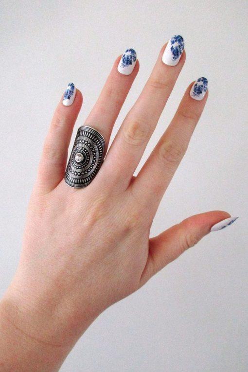 Delft Blue nail decals