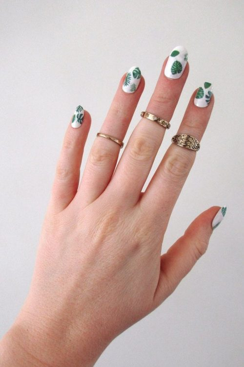 Leaf nail decals