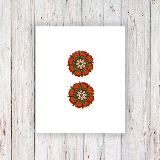 Red flower temporary tattoo