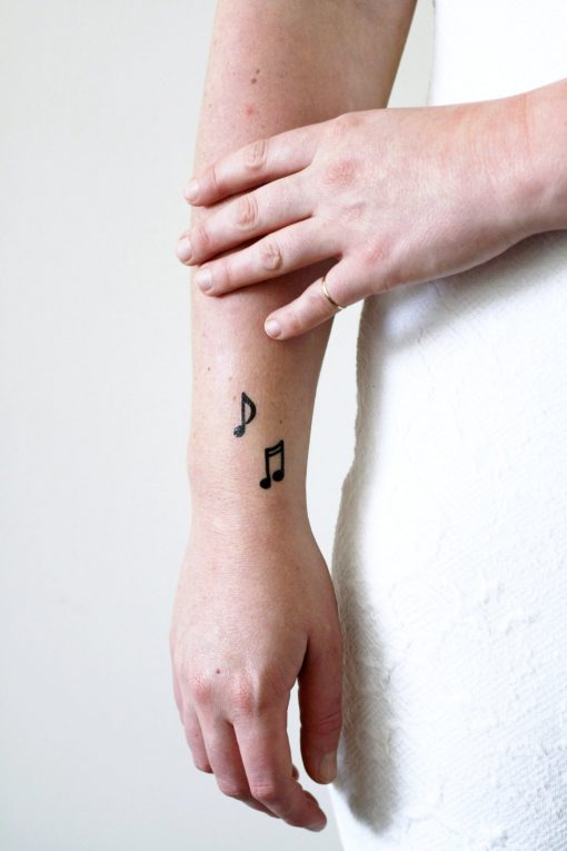 Musical notes temporary tattoo set (4 pieces)