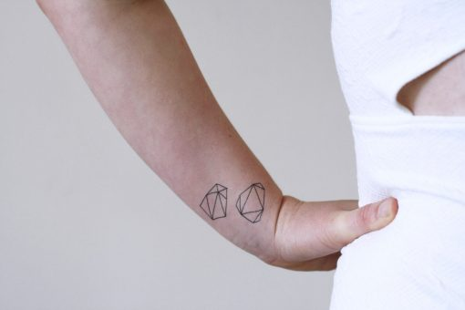 Geometric rock temporary tattoo set (2 pieces)