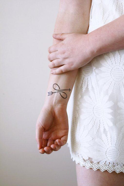 Infinity arrow temporary tattoo