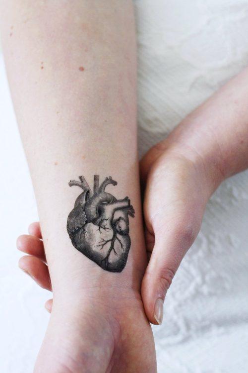 Human heart temporary tattoo