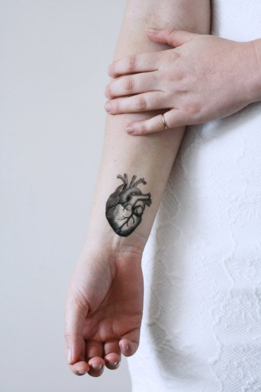 Human heart temporary tattoo