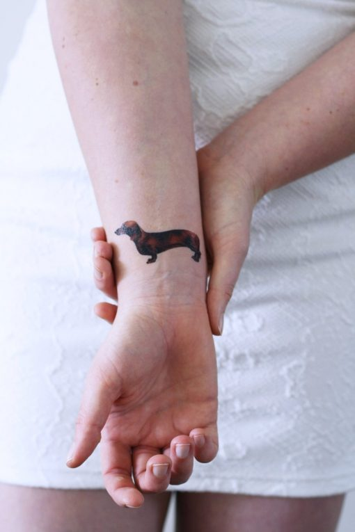 Dachshund dog temporary tattoo