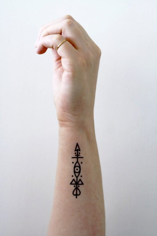 Small arrow temporary tattoo