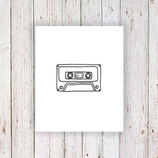 Cassette tape temporary tattoo