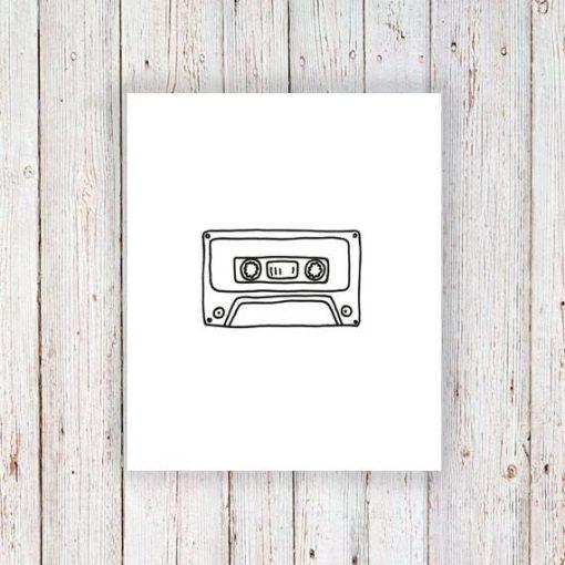 Cassette tape temporary tattoo