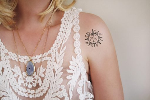 Sun temporary tattoo
