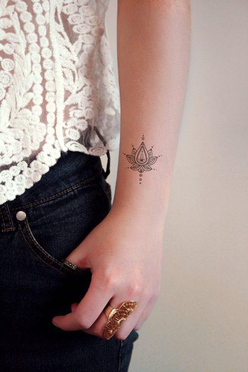 Boho lotus temporary tattoo