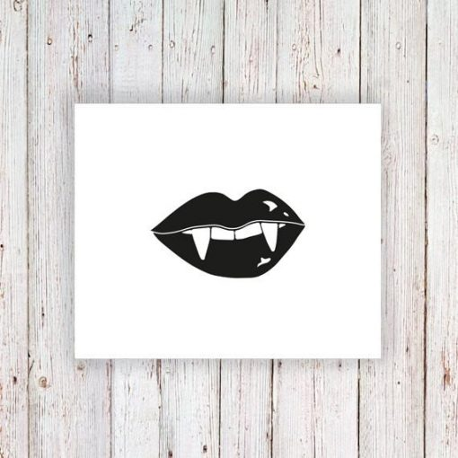 Vampire teeth temporary tattoo
