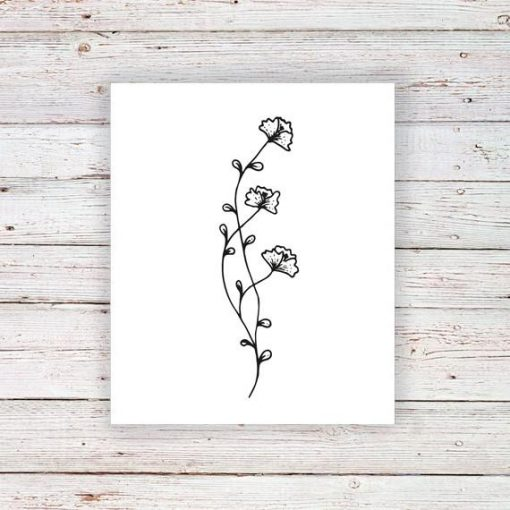 Floral branch temporary tattoo