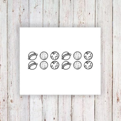Small planets temporary tattoo set