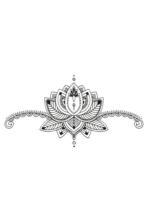 Lotus sternum temporary tattoo