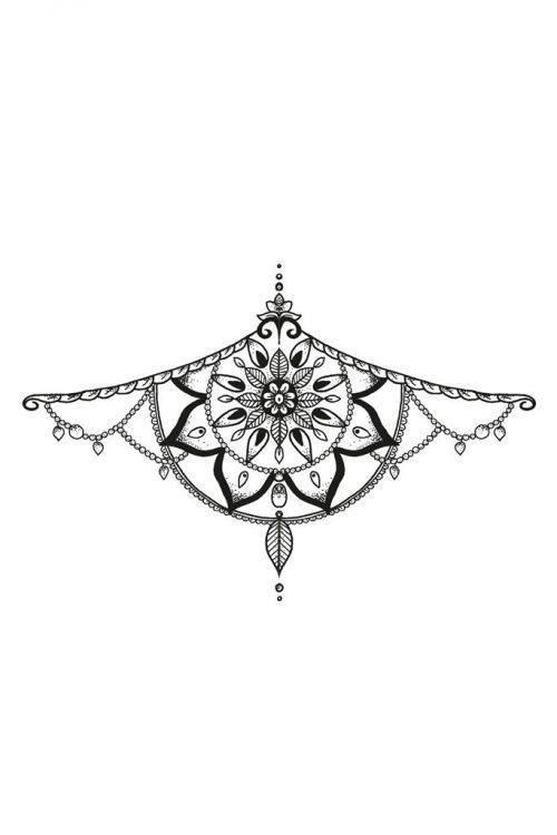 Mandala sternum temporary tattoo