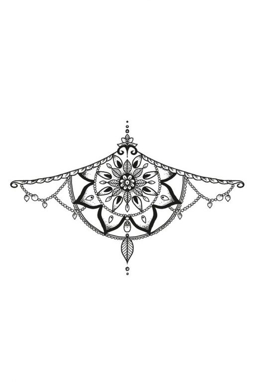 Mandala sternum temporary tattoo