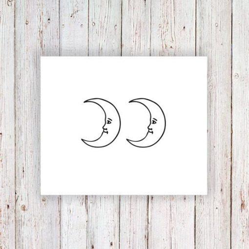Moon temporary tattoo (set of 2)