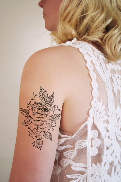 Floral temporary tattoo in black and white