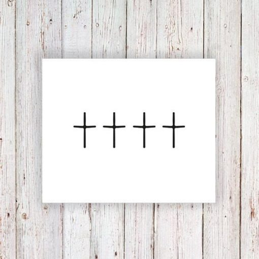 Cross temporary tattoos (set of 4)