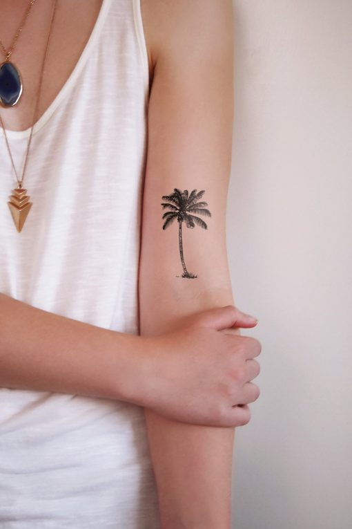 Palm tree temporary tattoo