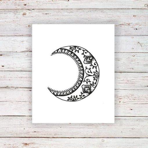Boho moon temporary tattoo