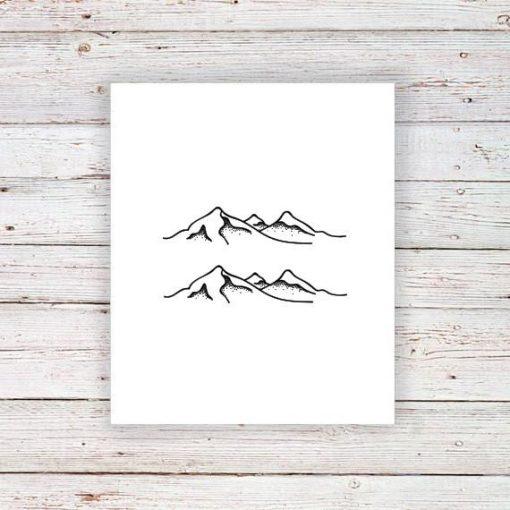 Mountain temporary tattoo (set of two)