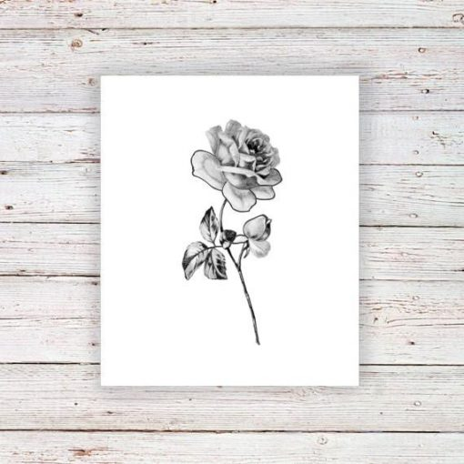 Delicate rose temporary tattoo