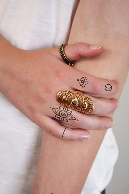 Finger temporary tattoo set