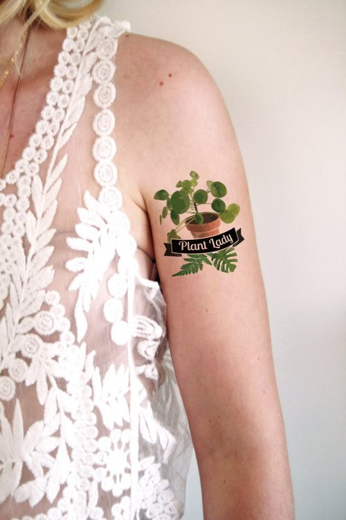 Plant lady temporary tattoo