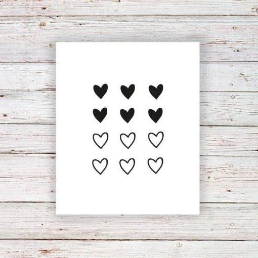 Mini heart temporary tattoo (set of 12)