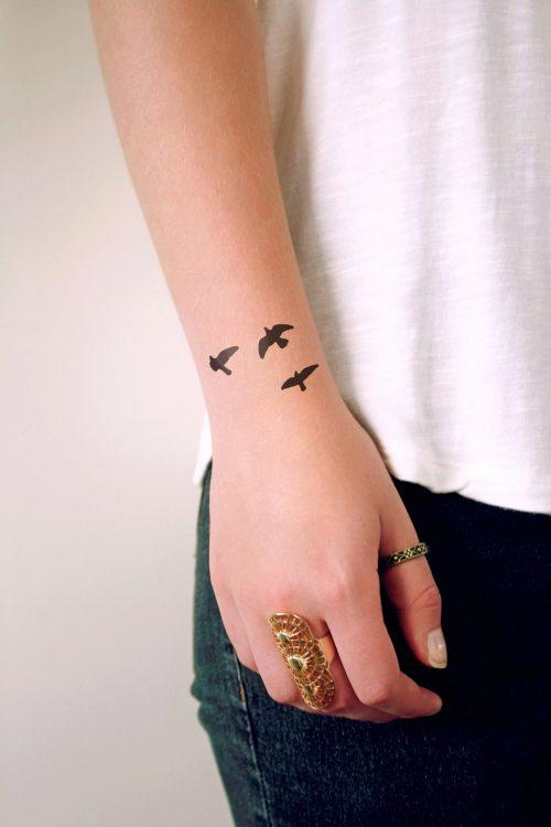 Flying birds temporary tattoo
