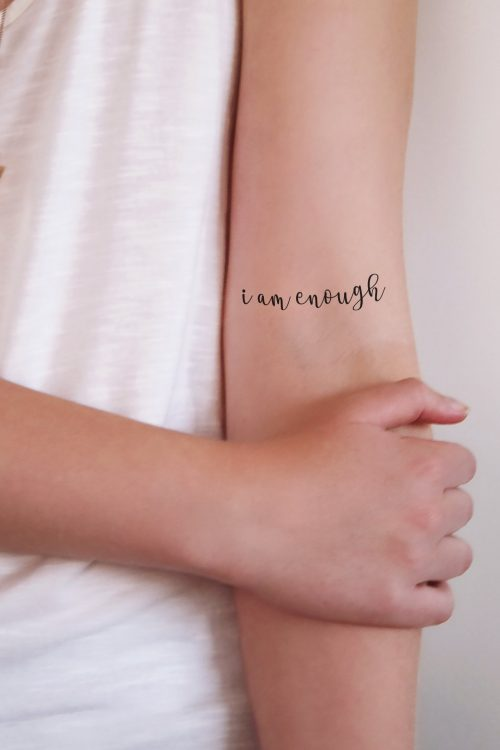 Temporary tattoo 'I am enough' (2 pieces)