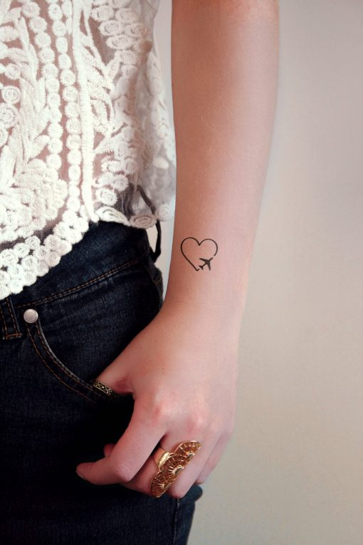 Heart and plane temporary tattoo