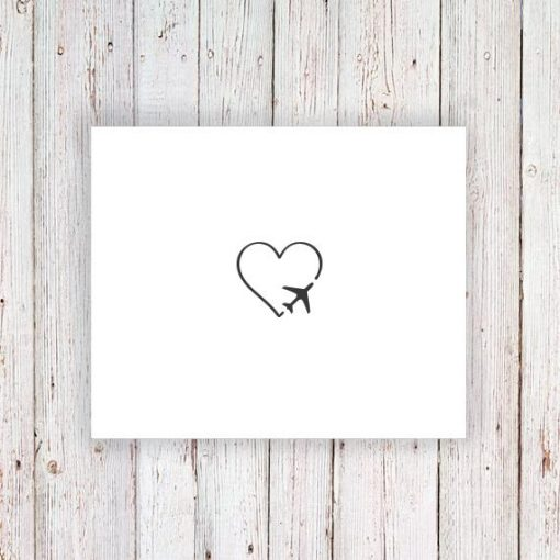 Heart and plane temporary tattoo