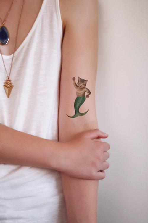 Cat mermaid temporary tattoo