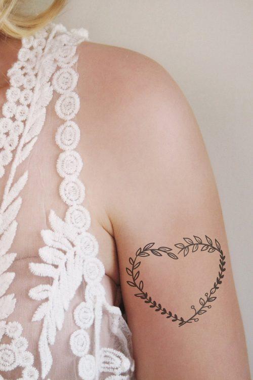 Heart leafs temporary tattoo