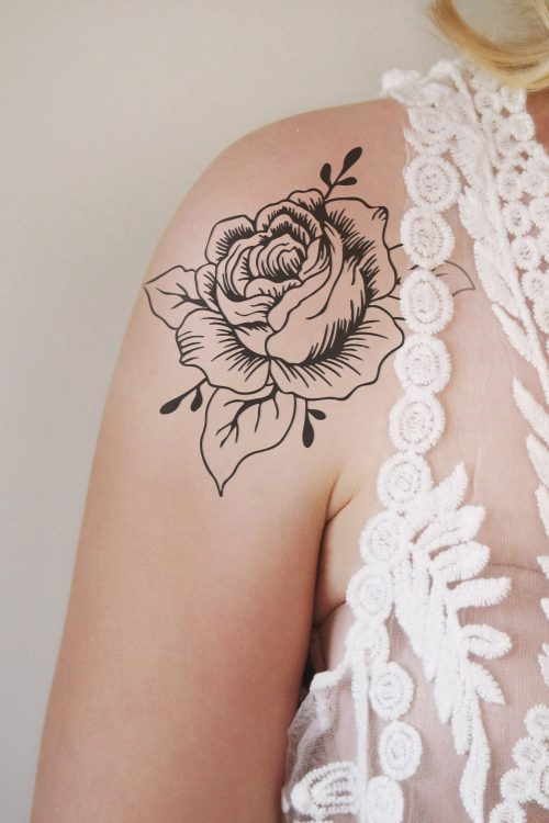Large black and white rose temporary tattoo