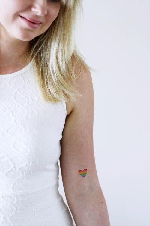 rainbow heart temporary tattoo 2