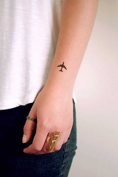 Small plane temporary tattoo