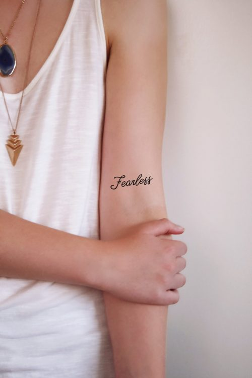 Fearless temporary tattoo