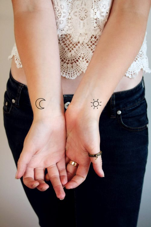 Sun and moon temporary tattoo set