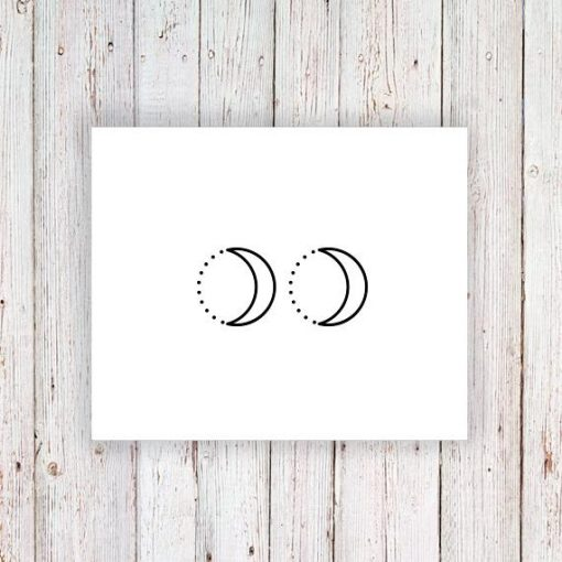Moon and dots temporary tattoo (set of two)